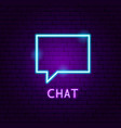 chat neon label vector image