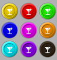 cocktail icon sign symbol on nine round colourful vector image vector image