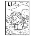 coloring book colorless alphabet letter l lion vector image vector image