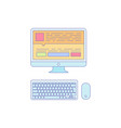 computer lined icon for business work vector image
