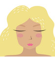 cute hand-drawn blonde girl in trendy cartoon vector image vector image