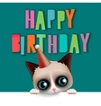 Cute happy birthday card with fun cat vector image vector image