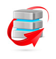 database icon with update symbol - red curved vector image