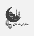 eid al-adha mosque crescent and lantern kurban vector image vector image