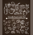 Food menu elements on chalk board set