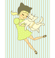 girl holds cat vector image vector image