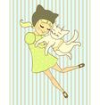 girl holds cat vector image