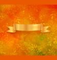 golden colored banner on autumn background vector image vector image