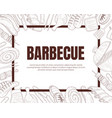 hand drawn barbecue symbols in card design vector image
