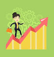happy business woman standing on profit chart vector image vector image