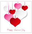 happy valentine with hanging colorful hearts eps10 vector image vector image