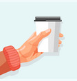 hot drink banner human hand holding paper cup vector image