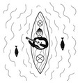 kayaking canoeing or rafting boat with playing vector image