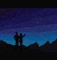 make a wish silhouette of couple watching vector image