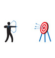 man focus aiming to hit target with bow and arrow vector image vector image