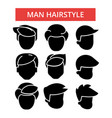 Man hairstyle thin line icons