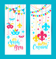 mardi gras colored vertical banners set with a vector image vector image