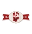 May Day decorative Banner with red Ribbon vector image