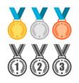 medals set sport winner awards gold silver vector image