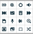 media icons set with satellite microphone vector image vector image