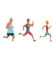 men running marathon race group people dressed vector image