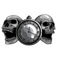 monochromatic antique pocket watch vintage vector image
