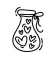 monoline cute jug with hearts valentines vector image vector image