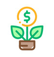 plant grow coin icon outline vector image vector image