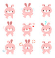 rabbit with different emotions cartoon vector image vector image