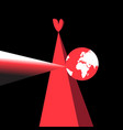 red heart and planet earth vector image vector image