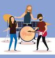 rock band playing instruments vector image