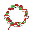 round frame with cartoon elf and christmas hat vector image