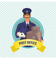 round icon on white background with postman vector image vector image