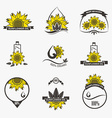 Set of sunflower oil emblems labels logos vector image vector image