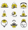 Set of sunflower oil emblems labels logos vector image