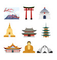 set of travel asia with asia vector image