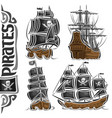 set variety pirate ships vector image vector image