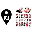 Shekel Map Marker Flat Icon with Bonus vector image vector image