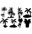 Silhouette palm trees vector image vector image