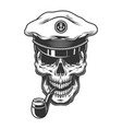 skull with pipe vector image vector image