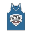 Sleeveless blue Shirt with Football Label vector image vector image