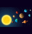 solar system model with colorful planets at orbit vector image vector image