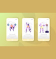 sport character mobile app page onboard screen vector image vector image