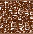 steaming coffee cups brown seamless pattern vector image