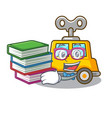 student with book clockwork toy car isolated on vector image