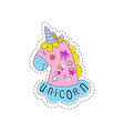 sweet pink unicorn childish patch badge cute vector image