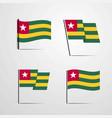 togo waving flag set design vector image vector image