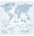 Travel Transport and world map line sketch on page vector image vector image