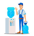 water delivery service man drinking clean vector image