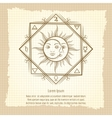 Sun and moon on vintage background vector image